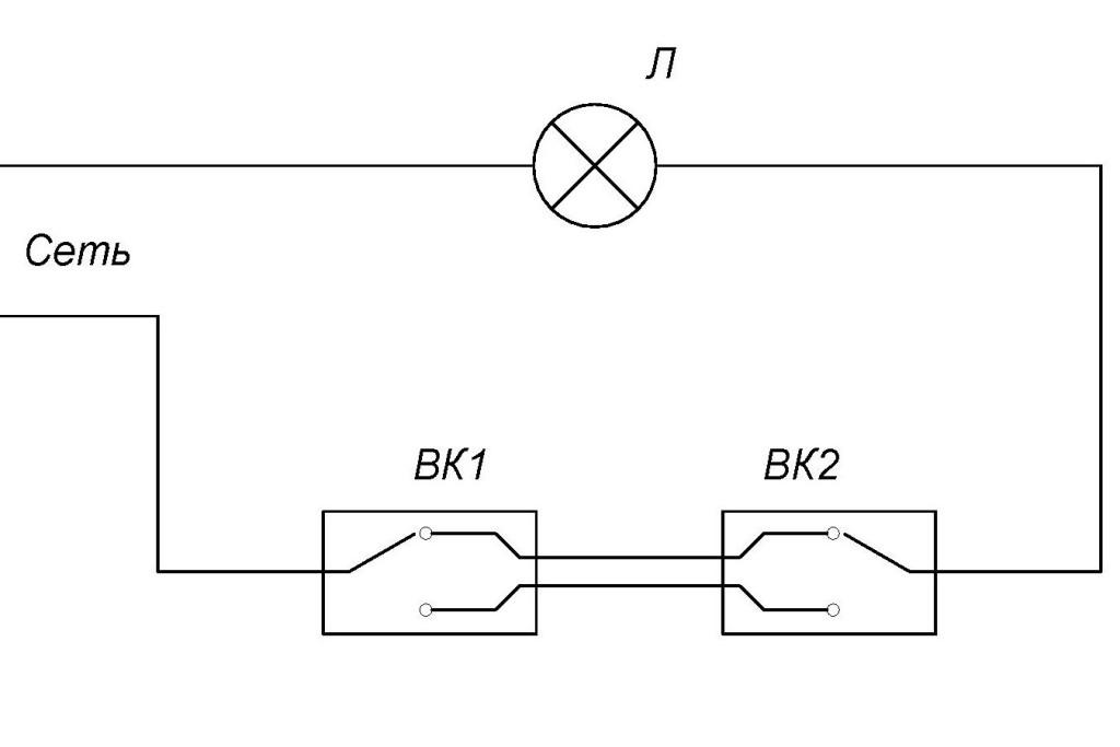 Как подключить проходной выключатель схема
