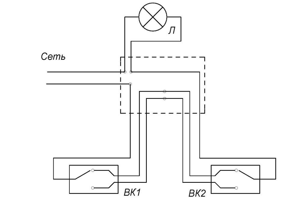 Как подключить проходной выключатель, схема