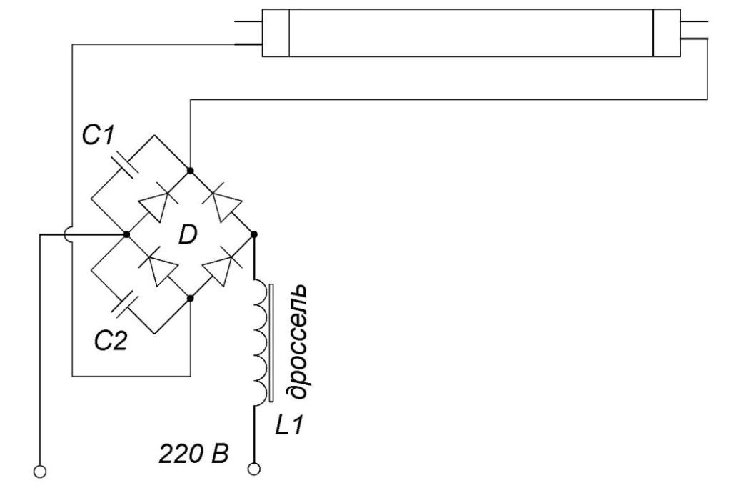 схема подключения люминесцентных ламп без стартера