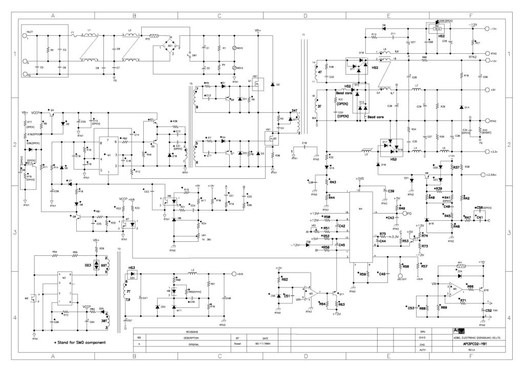 Схема AcBel API3PCD2 ATX-450P-DNSS 450W