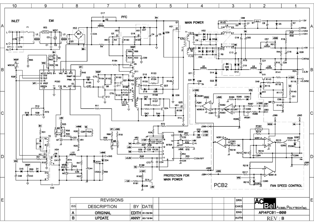 Схема AcBel API4PC01 400W