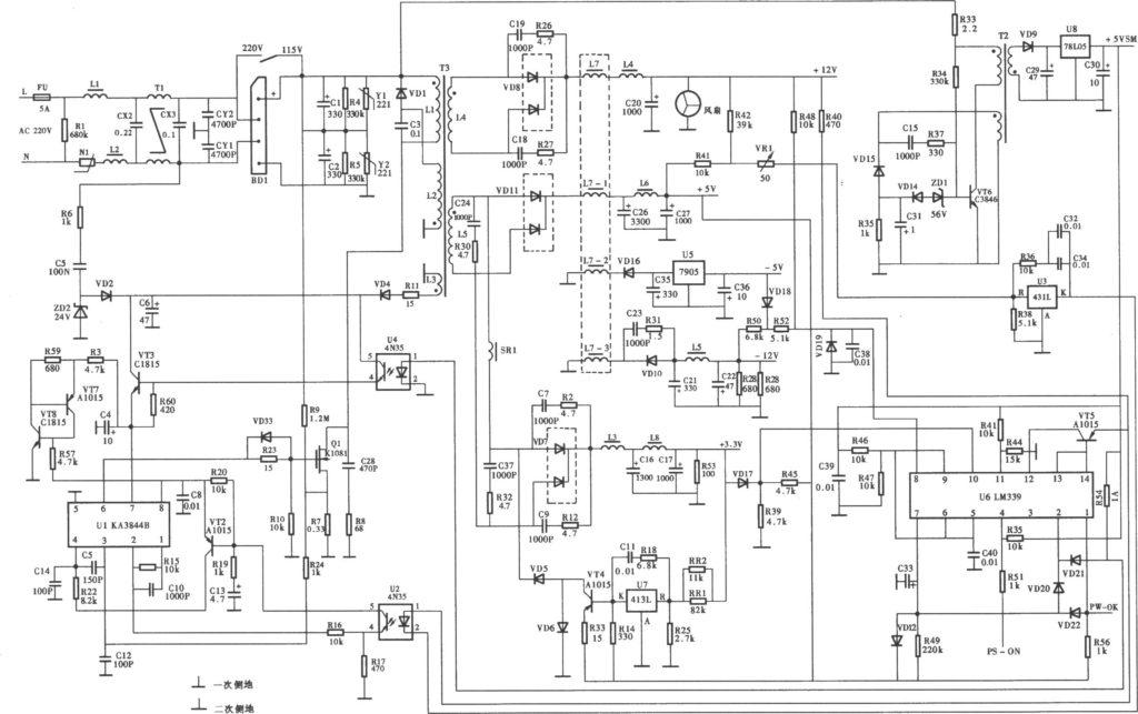 Схема блока NT-200ATX (KA3844B+LM339)