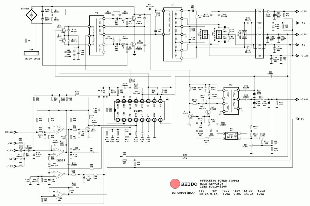 Схема Shido LP-6100 ATX-250W
