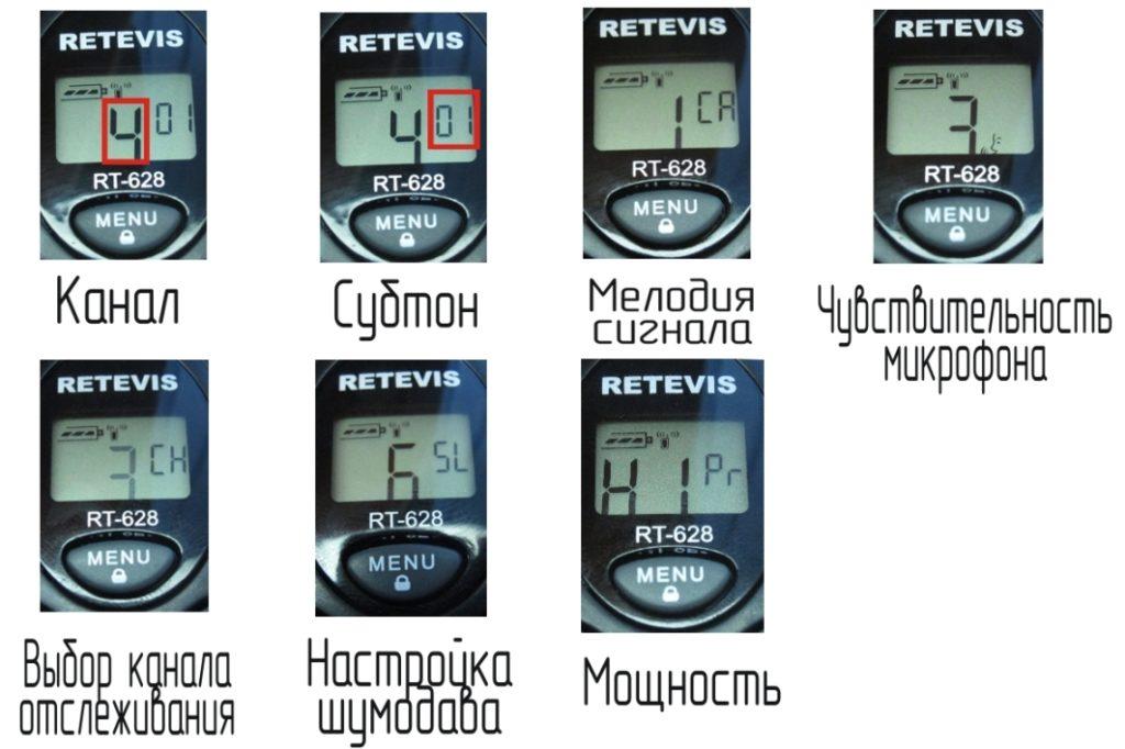меню RETEVIS RT628