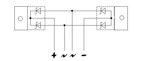 диодный мост из двух диодов шоттки